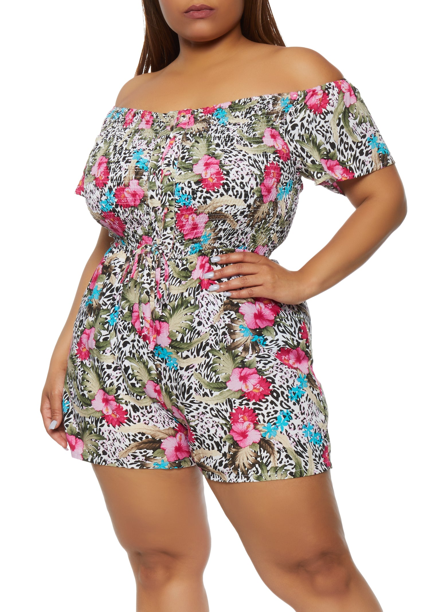 Plus Size Printed Lace Up Off the Shoulder Romper